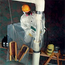 vertical asbestos glovebag